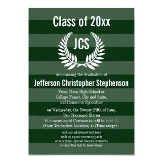"""Graduación verde masculina del laurel del invitación 4.5"""" x 6.25"""""""