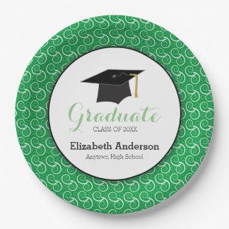 Graduación verde y blanca, personalizada plato de papel de 9 pulgadas
