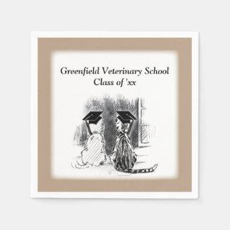 Graduación veterinaria, perro y gato, regalos servilleta desechable