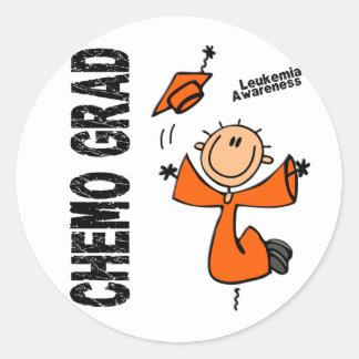 GRADUADO 1 de la leucemia CHEMO Pegatina Redonda