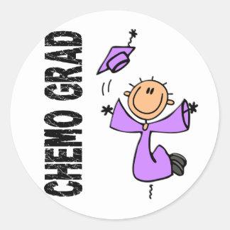 GRADUADO 1 (general Cancer) de la lavanda CHEMO Pegatina Redonda