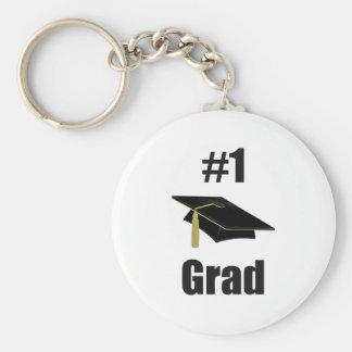 Graduado #1 (negro) llavero redondo tipo pin