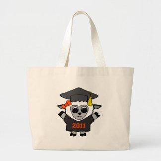 Graduado 2011 del negro y del naranja de las oveja bolsa tela grande