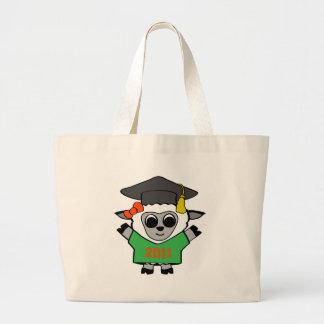 Graduado 2011 del verde y del naranja de las oveja bolsa tela grande