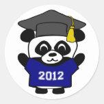 Graduado 2012 de los azules marinos y del blanco pegatinas redondas