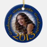 Graduado 2013 azul y marco de la foto del oro adornos de navidad