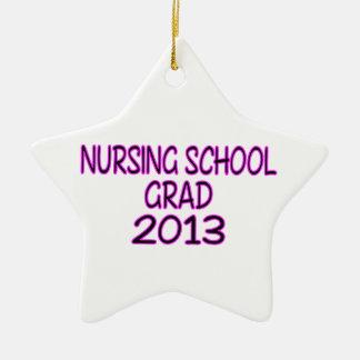 Graduado 2013 de la escuela de enfermería adorno navideño de cerámica en forma de estrella