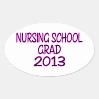 Graduado 2013 de la escuela de enfermería pegatina ovalada