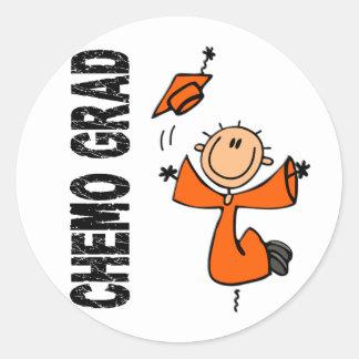 GRADUADO anaranjado 1 (leucemia) de CHEMO Pegatina Redonda