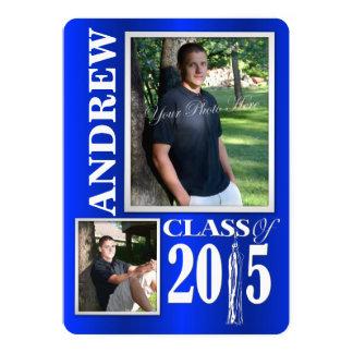 Graduado azul de la foto 2015 de la borla invitación 12,7 x 17,8 cm
