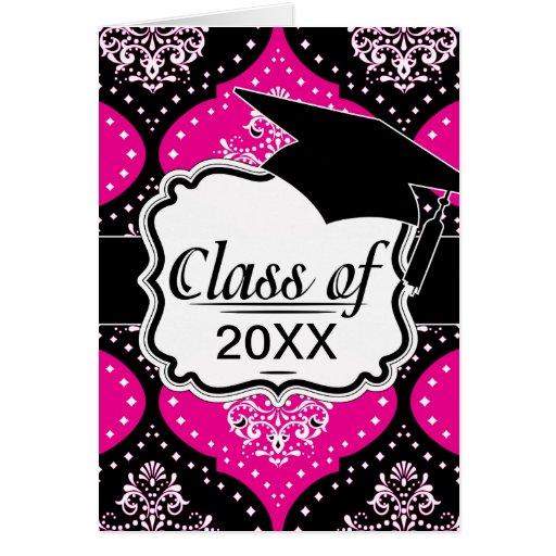 graduado blanco negro rosado magent del damasco de tarjeta pequeña
