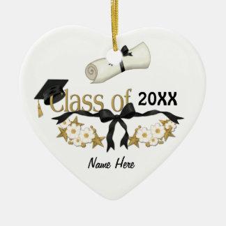 Graduado con clase 2015 adorno navideño de cerámica en forma de corazón