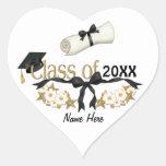 Graduado con clase 2015 pegatina en forma de corazón