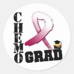 Graduado de Chemo del cáncer de cabeza y cuello Pegatina Redonda