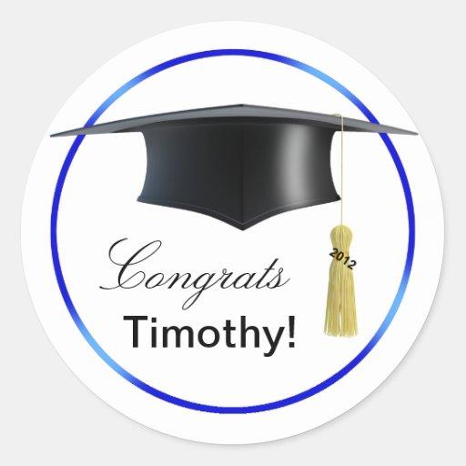 ¡Graduado de Congrats! Azul del Mortarboard y de Pegatina Redonda