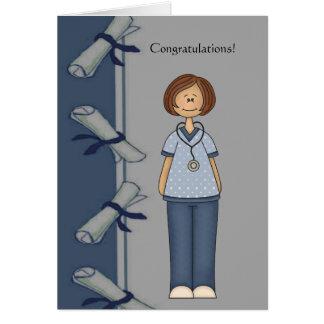 Graduado de la enfermera de la enhorabuena tarjeta de felicitación