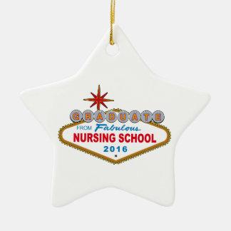 Graduado de la escuela de enfermería fabulosa 2016 adorno navideño de cerámica en forma de estrella