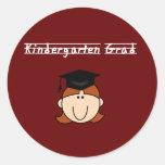 Graduado de la guardería - chica rojo del pelo pegatinas redondas