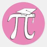 Graduado de la matemáticas pi - regalo ROSADO del Pegatinas Redondas