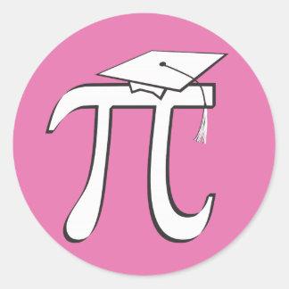 Graduado de la matemáticas pi - regalo ROSADO del Pegatina Redonda