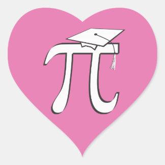 Graduado de la matemáticas pi - regalo ROSADO del Pegatina En Forma De Corazón