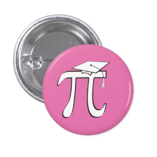 Graduado de la matemáticas pi - rosa y blanco pin redondo de 1 pulgada
