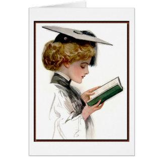 Graduado de la mujer del vintage tarjeta de felicitación