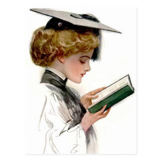Graduado de la mujer del vintage tarjeta postal