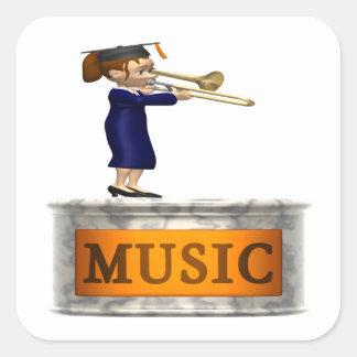 Graduado de la música pegatina cuadrada