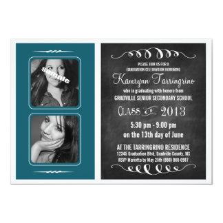 Graduado de la pizarra de la fotografía del azul 2 invitación 11,4 x 15,8 cm