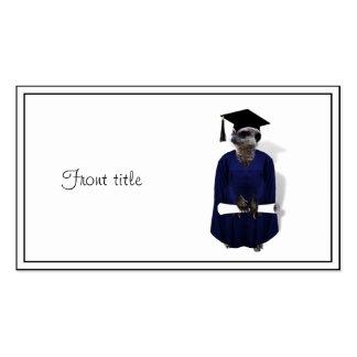 Graduado de Meerkat con el vestido y el diploma Tarjetas De Visita