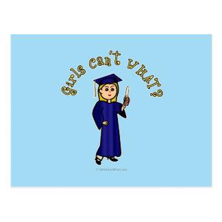 Graduado del Blonde en azul Postales