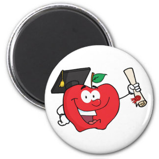 Graduado del carácter de Apple que sostiene un dip Imán Redondo 5 Cm
