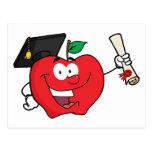 Graduado del carácter de Apple que sostiene un dip Tarjetas Postales
