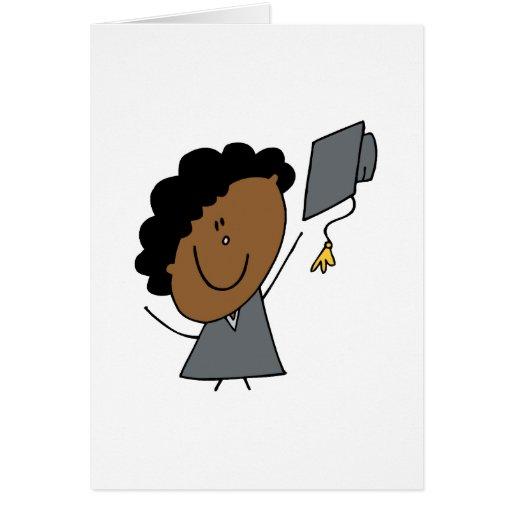 Graduado del chica del palillo tarjeta