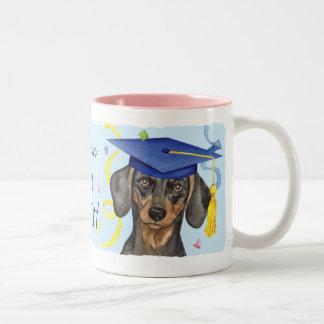 Graduado del Dachshund Taza De Café De Dos Colores