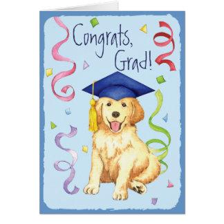 Graduado del golden retriever tarjeta de felicitación