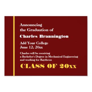 """Graduado del oro de Borgoña nuevo CUALQUIE Invitación 4.5"""" X 6.25"""""""