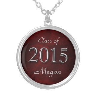 Graduado del rojo 2015 personalizado colgante redondo