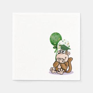 Graduado divertido feliz del mono servilletas desechables
