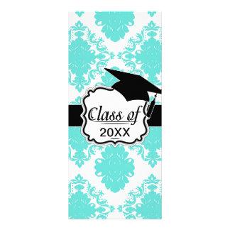 graduado elegante blanco azul del damasco de la ag tarjetas publicitarias