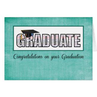 Graduado en enhorabuena de las palabras en trullo tarjeta de felicitación