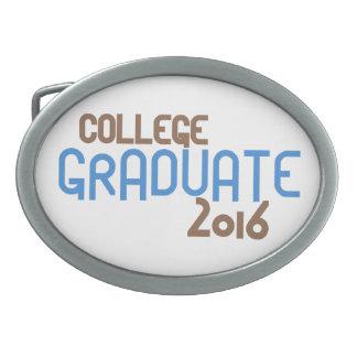 Graduado enrrollado 2016 (azul) de la universidad hebilla de cinturón oval