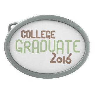 Graduado enrrollado 2016 (verde) de la universidad hebillas cinturón ovales