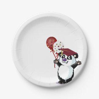 Graduado feliz del oso de panda plato de papel de 7 pulgadas