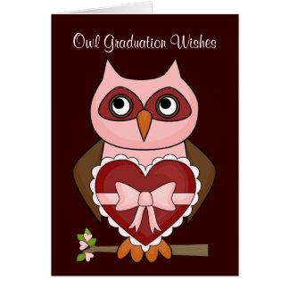 Graduado Folksy del búho - corazón rojo Tarjeton
