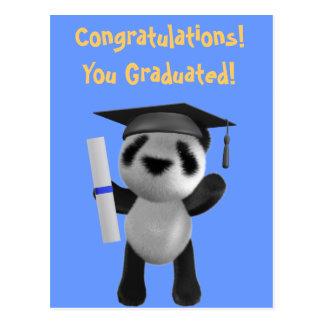 Graduado lindo de la panda del bebé 3d (editable) tarjetas postales