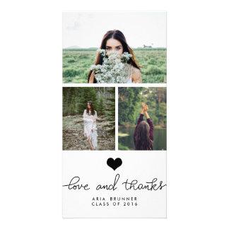 Graduado lindo de la tipografía del amor y de las tarjeta con foto personalizada