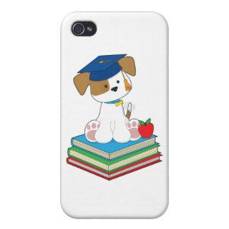 Graduado lindo del perrito iPhone 4 protector