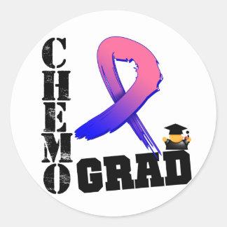 Graduado masculino de Chemo del cáncer de pecho Pegatina Redonda